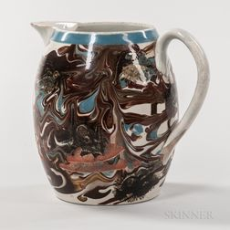 Mocha Slip-banded and Seaweed-decorated Jug